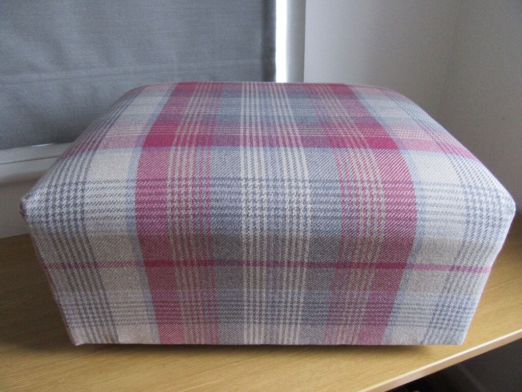 Pink And Grey Check Footstool In Wirral Merseyside