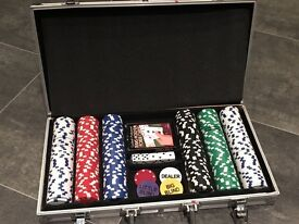 Poker chips in portable carry case