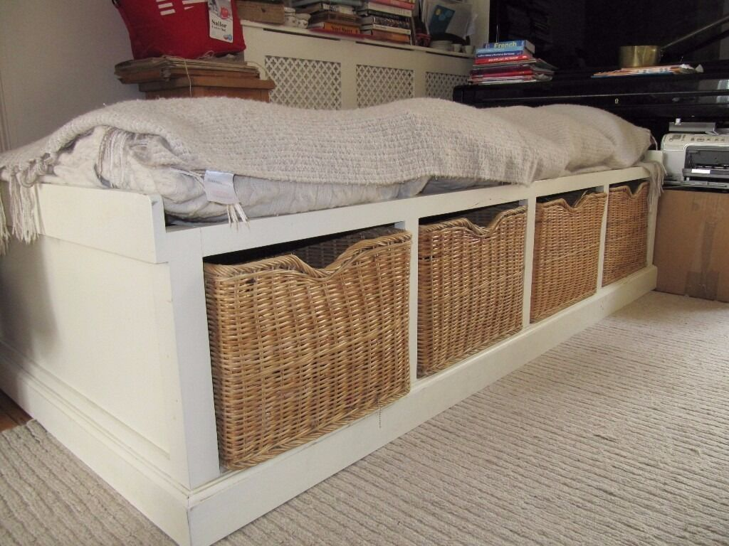 Really Useful Wooden Single Bed With 4 Wicker Baskets In