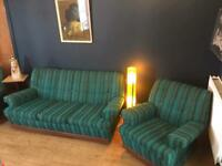 Vintage retro kitsch blue green wool 3 piece suite sofa settee armchairs