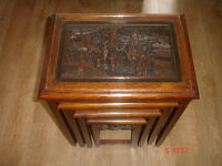 Lovely Nest Of Beautifully Carved Oriental Tables With Glass Tops.