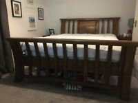 King Size - Solid Mango Wood Sleigh Bed