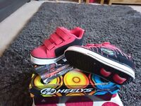SIZE 1 genuine Heelys, red/black, as new condition