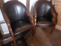 Pair of real leather, studded, wooden club lounge dining living room tub chairs