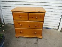 Chest Of solid pine 2 over 2 very deep drawers in excellent condition