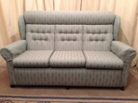 Green 3 Seater Sofa - High Wing Back