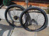 """7/14/21 Speed Disc Braked Mountain Bike AERO DISC BLACK ALLOY WHEEL c/w NEW 26"""" x2.10 TYRE & TUBE"""