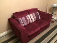 Purple 2 Seater Fabric Sofa for sale. Good condition!!
