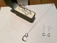 Brand new Silver Heart design bracelet, earrings, pendant and chain