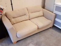 Cream fabric two seater sofa 198cm