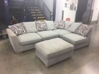 Grey Corner Sofa and Matching Footstool - Delivery Available!