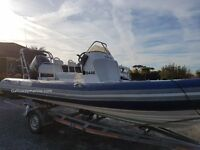 Rib - X expert 650 with Yamaha 150 outboard engine on trailer