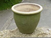 Textured Green Glazed Ceramic Garden Planter Plant Pot 25cm Tall