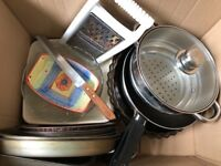 Misc kitchenware, tins, dishes, bowls, grater, peelers, pans, can opener, strainer, ovenware etc