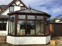 Mahogany UPVC conservatory 4 x 4 metres very good condition