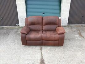 FREE DELIVERY, Used 2 Seater brown suede/leather sofa