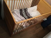 Wooden cot/bed with mattress good condition easy to take apart rrp £166