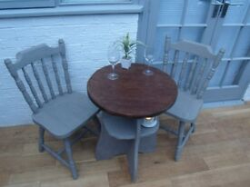 Charming Small Cafe/Bistro Dining Table and Two Chairs. Solid Oak. Annie Sloan French Linen. £85 ONO