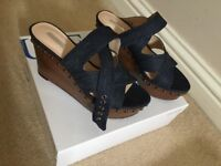 Brand new with box and tags wooden stud denim GUESS wedges