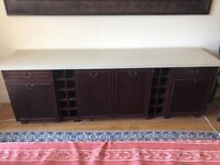 MARBLE & ANTIQUE LARGE CABINET WITH FOOD WARMER, CAN be painted / color matched to suit