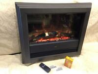 WALL HUNG ELECTRIC FIRE DIMPLEX BCH20 INCLUDING REMOTE CONTROL, WALL BRACKETS AND NEW BULBS