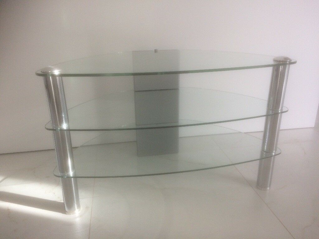 Beautiful glass and chrome tv stand