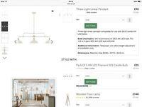 Three light linear pendant ceiling light