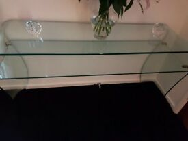 Beautiful Italian glass console table colour green/blue depending on the light