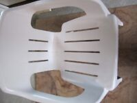 Oasis white plastic chair in excellent condition. Comfy ergonomic design, strong, stable stackable