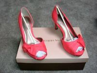 BRAND NEW IN BOX - JACQUES VERT SHOES - SIZE 5 - HEELS - PEEP TOE - COLOUR CORAL