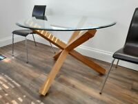 Dining Table - Modern Glass Top & Chairs