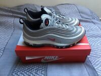 NIKE AIR MAX 97 OG QS SILVER UK 9 VINTAGE CONDITION 884421 001