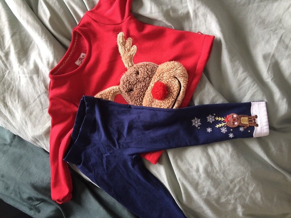 Girls Christmas trousers and top age 18-24 months.
