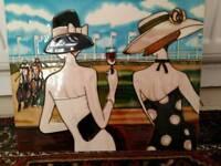 Decorative ceramic picture tile featuring ladies at the races