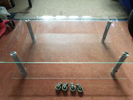 Glass 2 shelf coffee table