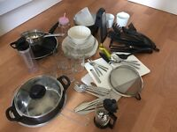 Kitchen essentials (pots, plates, utensils.. etc.)