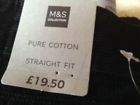Men's M&S black cord trousers