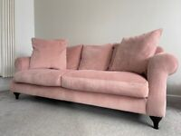 Next Pink Velvet 3 Seater Sofa