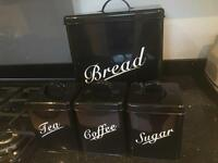 Bread Bin with Matching Tea, Coffee and Sugar Canisters
