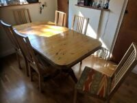 Extendable dining table £200, with chairs £270