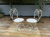 Pair of Original Antique French Iron Chairs Garden