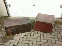 Two vintage wooden trunks storage boxes