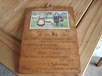 Wooden Plaque with Just Living poem from Mum & Dad dated 1934