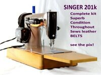 SINGER 201K Electric Sewing Machine Heavy Duty Sews Leather Belts SUPERB condition throughout