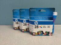 3 HP 28 Tri-color inkjet print cartridges