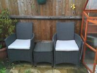 Rattan chair and coffee table set - dark grey