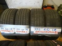 MATCHING PAIRS 225 40 18 CONTIS & BRIDGESTONES ALL 6mm TREAD £80 PAIR SUP & FITD 7-DYS LOADS MORE AV