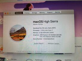 "Apple MacBook Pro 15.4"" Laptop 8GB RAM Intel Core i7 Processor 500GB"