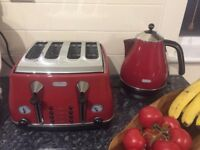 Delonghi Icona Red Kettle, De'Longhi Icona Toaster 4 Slice Red