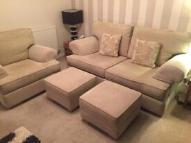 Mark Webster sofa armchair 2 x footstool excellent condition